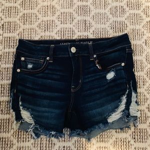 American Eagle Distressed Denim Midi Shorts